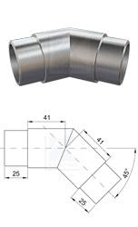 Gehrungsbogen 135° zum Verkleben von zwei Edelstahlrohren 42,4x2,0 mm