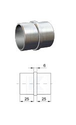 Klebehülse zum Verbinden von zwei Rohren 42,4x2,0 mm mit einem Steg von 6 mm