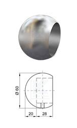 Rohrabschlusskugel aus Edelstahl zum Aufstecken auf Rohr 42,4x2,0 mm