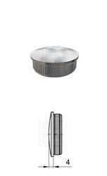 gewölbter Rohrstropfen mit Rändelung zum Einschlagen in Edelstahlrohr 42,4x2,0 mm
