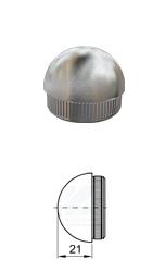 halbrunder Rohrstropfen mit Rändelung zum Einschlagen in Edelstahlrohr 42,4x2,0 mm