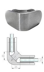 Eckklemmen zur Verschraubung von 2 Glasscheiben in einer 90°-Ecke