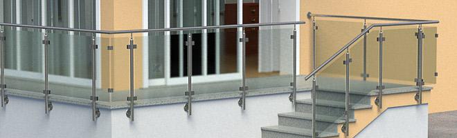 Bestellen Sie hier Geländerpfosten, Handläufe und Zubehöhrmaterial aus Edelstahl für ein Gländer mit einer Glasfüllung.