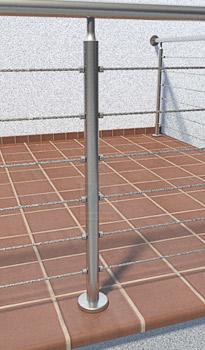 Geländerpfosten aus Rohr 42,4x2,0 mm zur Befestigung rückseitig mit einer Bodenplatte 100x8 mm verschweißt, Lieferung inklusive einer Rosette