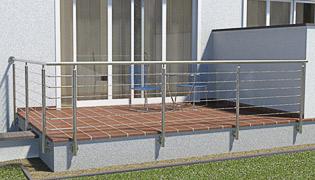 einmal abgewinkeltes Geländer in L-Form - die Pfosten stehen in zwei Fluchten (90°) die 2. Achse ist auf der linken Seite angeordnet