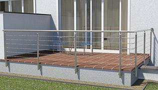 einmal abgewinkeltes Geländer in L-Form - die Pfosten stehen in zwei Fluchten (90°) die 2. Achse ist auf der rechten Seite angeordnet