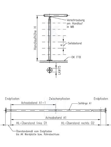 Seilgeländer in I-Form - Geländer aufgesetzt mit Bodenplatte100x8 mm und Rosette