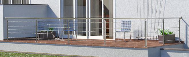 Bestellen Sie hier Geländerpfosten, Handläufe und Zubehöhrmaterial aus Edelstahl für ein Gländer mit einer Seilfüllung. Für die von Ihnen angegebenen Achsmaße werden alle Komponenten hier im Konfigurator berechnet.