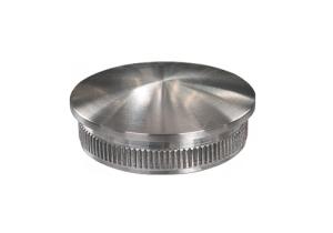 Rohrstopfen mit Rändelung,  gewölbt, für Edelstahlrohr 48,3x2,0 mm, Werkstoff 1.4301, Oberfläche fein gedreht