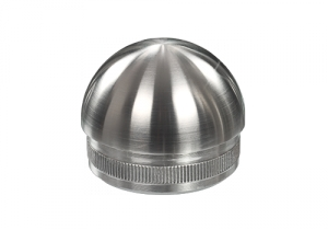 Rohrstopfen mit Rändelung,  halbrund, für Edelstahlrohr 42,4x2,0 mm, Werkstoff 1.4301, Oberfläche fein gedreht