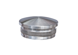 Endkappe leicht gewölbt aus Hohlguss mit Rändelung zum Einschlagen in Edelstahlrohr 42,4x2,0 mm