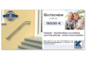 Körtigng EDELSTAHL Geschenk - Gutschein 150,00 Euro