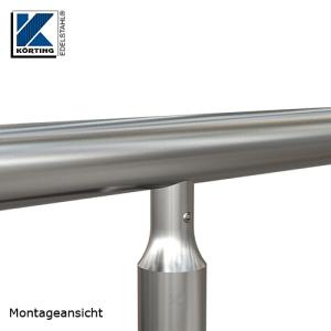Montagedetail - Pfostenanschluss mit Fräsung und Verschraubung am Handlauf in Fließformgewinde M8