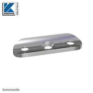 Anschraubplatte mit Senkbohrungen - Ansicht von der Innenseite - mit Vertiefung zur besseren Auflage