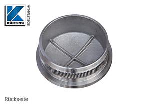 Endkappe leicht gewölbt aus Hohlguss mit Rändelung für Edelstahlrohr 42,4x2,0 mm - Rückseite