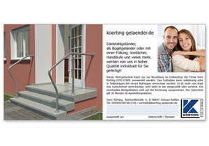 Körtigng EDELSTAHL Geschenk - Gutschein 250,00 Euro - Rückseite