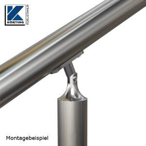 Montagedetail Handlaufstütze mit Gelenk und Anschraubplatte - Handlauf in Neigung - Verdrehung um bis zu 75° möglich