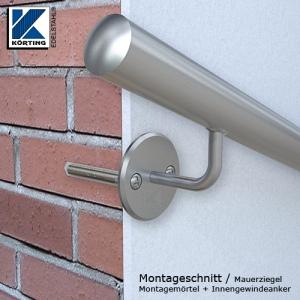 Handlaufhalter für Handlauf aus Edelstahl, Handlaufträger gebogen zum Anschweißen des Handlaufes - Montageschnitt Mauerziegelwand