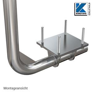 Edelstahl Ankerplatte zur unterseitigen Montage von Geländerpfosten - Montageansicht