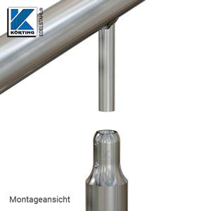 Montage - Explosionsdarstellung - der am Handlauf verschweißte Handlaufträger wird in die Bohrung der Handlaufstütze gesteckt und mit den Stiftschrauben arretiert