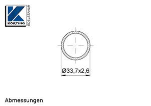 Edelstahlrohr 33,7x2,6 mm Werkstoff 1.4571 Korn 600 geschliffen in 6 Meter - Längen oder Zuschnitt auf Maß