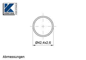 Edelstahlrohr 42,4x2,6 mm Werkstoff 1.4571 Korn 600 geschliffen in 6 Meter - Längen oder Zuschnitt auf Maß