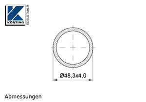 Edelstahlrohr 48,3x4,0 mm Werkstoff 1.4301 Korn 600 geschliffen - Maßzeichnung