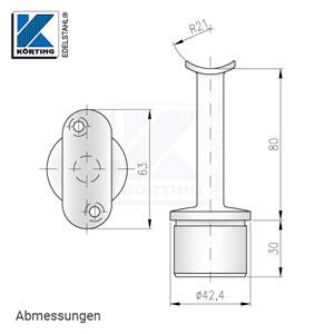 Abmessungen - Handlaufstütze mit Anschraubplatte aus Guss zum Einkleben in Edelstahlrohr 42,4x2,0 mm