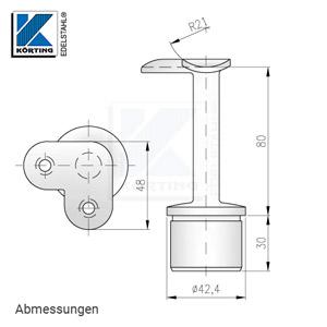 Abmessungen - Handlaufstütze mit 90°-Anschraubplatte aus Guss zum Einkleben in Edelstahlrohr 42,4x2,0 mm
