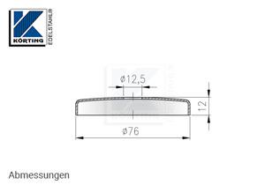 Abdeckrosette 76x12 mm mit Loch 12,5 mm - Abmessungen
