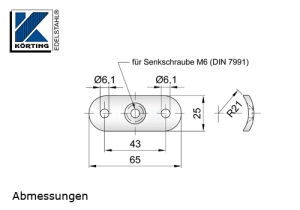 Abmessungen Anschraubplatte mit Durchgangsbohrungen für Edelstahlrohr 42,4 mm für Handlaufhalter und Handlaufstützen