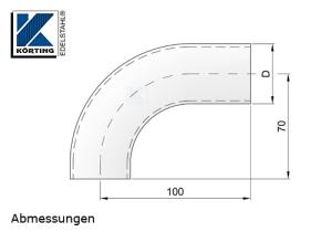 Rohrbogen aus Edelstahlrohr 40,0x2,0 mm - Abmessungen