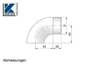 Abmessungen Endbogen für Rohr 42,4x2,0 mm als Rohrabschluss