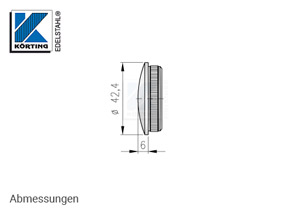 Endkappe aus Edelstahl in Edelstahlrohr 42,4x2,0 mm - Abmessungen