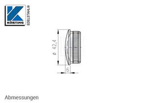 Endkappe leicht gewölbt aus Hohlguss mit Rändelung für Edelstahlrohr 42,4x2,0 mm -Abmessungen