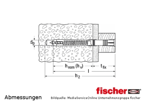 Fischer Universal Rahmensübel FUT-T mit fischer Sicherheitsschraube - Abmessungen