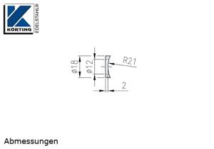 Radienscheibe D18 aus Edelstahl mit einer Fräsung für Rohr 42,4 mm und einer Durchgangsbohrung 12 mm - Abmessungen