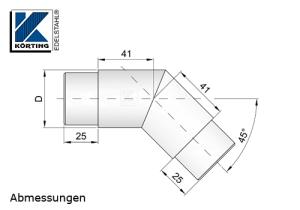 Abmessungen Rohrbogen 45° Gehrung für Rohr 42,4x2,0 mm (A4)