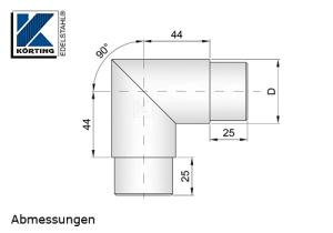 Rohrbogen 90° Gehrung zum Einkleben in Rohr 42,4x2,0 mm - Abmessungen