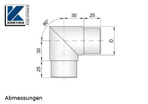 Rohrbogen 90° Gehrung, Schenkel 30x30 mm, zum Einkleben in Rohr 42,4x2,0 mm - Abmessungen