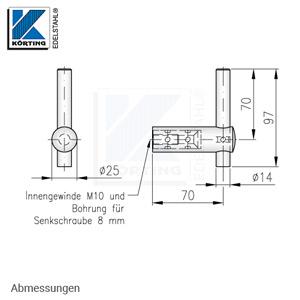 Handlaufhalter für Handlauf aus Edelstahl, D25 mit Handlaufaufträger Rd14 zum Anschweißen am Handlauf - Abmessungen