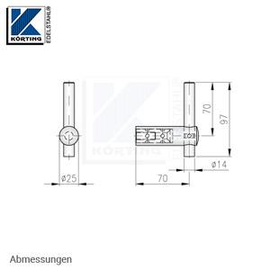 Handlaufhalter für Handlauf aus Edelstahl, D25 mit Handlaufaufträger Rd14 zum Anschweißen