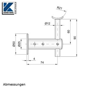 Handlaufhalter für Handlauf aus Edelstahl, D25 mit Handlaufaufträger Rd12, Anschraubplatte und Ronde zum Anschrauben