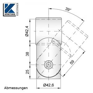 Handlaufstütze zum Verschweißen mit Rohr 42,4 - mit Gelenk und Trägerring - Abmessungen
