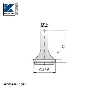 Abmessungen Handlaufstütze zum Einschweißen in Edelstahlrohr