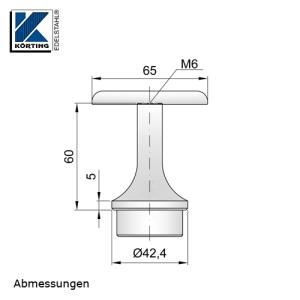 Abmessungen Handlaufstütze zum Einkleben mit Anschraubplatte