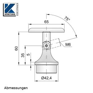 Abmessungen der Handlaufstütze mit Gelenk zum Einkleben und Anschraubplatte