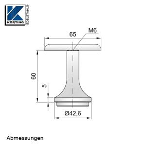 Abmessungen Handlaufstütze zum Einschweißen mit Anschraubplatte