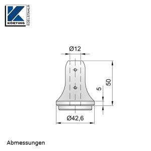 Abmessungen Handlaufstütze zum Einschweißen in Rohr mit Bohrung für Rundmaterial 12 mm