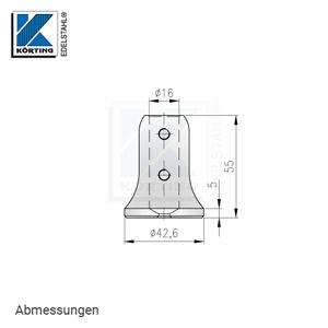 Abmessungen Handlaufstütze zum Anschweißen an Rohr mit Bohrung für Rundmaterial 16 mm